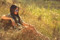 Картинка лето, трава, девушка, природа, лицо, раскрас