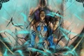 Картинка стекло, девушка, трещины, мужчина, Mortal Kombat, Китана, Рейн