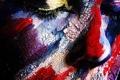 Картинка глаза, лицо, краска, нос, арт, живопись, закрытые