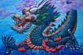 Картинка небо, усы, пламя, дракон, китай, картина, зубы