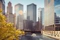 Картинка Америка, Chicago, Небоскребы, Здания, Река, America, Чикаго