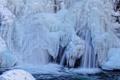 Картинка зима, лед, водопад