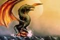 Картинка море, девушка, скала, дракон, камень, арт