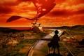 Картинка небо, мост, город, река, гитара, аниме, силуэт