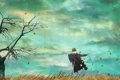 Картинка поле, осень, небо, листья, деревья, фон, настроение
