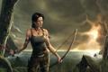Картинка лук, Lara Croft, небо, океан, девушка, море, лицо