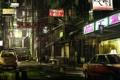 Картинка ночь, улица, Япония, знаки, вывески, автомобили, магазинчики