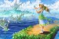 Картинка трава, вода, девушка, абстракция, узоры, ребенок, арт