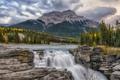 Картинка река, скалы, гора, водопад, Канада, Альберта, Jasper