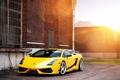 Картинка солнце, Lamborghini, Superleggera, Gallardo, блик, жёлтая, ламборджини