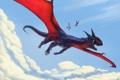 Картинка небо, облака, птицы, дракон, рисунок, фэнтези, арт