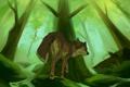 Картинка лес, трава, деревья, волк, ручейки