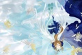 Картинка небо, девушка, птицы, звёзды, ah my goddess