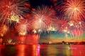 Картинка небо, город, огни, Нью-Йорк, фейерверк, США, Нью-Джерси