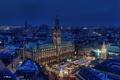 Картинка Hamburg, здания, ратуша, площадь, ночной город, Гамбург, Германия