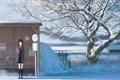 Картинка зима, девушка, снег, дерево, аниме, знаки, арт