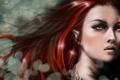 Картинка девушка, лицо, арт, рыжая