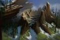 Картинка лес, снег, дерево, пень, дома, деревня, арт