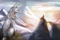 Картинка горы, природа, животное, волк, арт