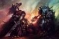 Картинка оружие, огонь, монстр, меч, воин, арт, черепа