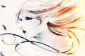 Картинка Девушка, перья, искры