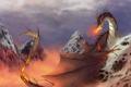 Картинка огонь, облака, небо, дракон, природа, арт, зима