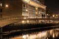Картинка вода, ночь, мост, река, люди, Москва, набережная