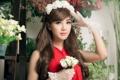 Картинка цветы, перчатки, азиатка, Linh Napie