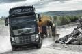 Картинка дорога, грузовики, дальнобойщики