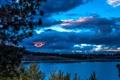 Картинка США, June Lake, осень, Калифорния, деревья, река, вечер