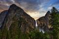 Картинка гора, лес, Yosemite National Park, Bridal Veil Falls, водопад