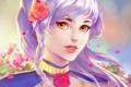 Картинка девушка, цветы, лицо, волосы, розы, Арт
