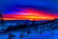 Картинка облака, деревья, зарево, зима, снег, склон, небо
