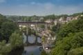 Картинка пейзаж, мост, река, Англия, поезд, панорама, England