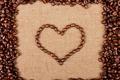 Картинка креатив, кофе, сердечко, кофейные зёрна