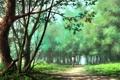 Картинка девушка, деревья, парк, арт, дорожка, парень, объятие