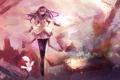 Картинка взгляд, город, Девушка, разрушения, очки, школьная форма, akemi homura