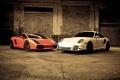 Картинка гараж, спорткара, Gallardo and 997 v 3, два