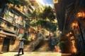 Картинка свет, дерево, улица, рисунок, человек, лестница