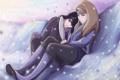 Картинка снег, улыбка, девушки, Наруто, Naruto, объятья, art