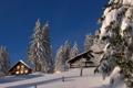 Картинка снег, деревья, горы, дом, дома, склон, заснежено