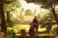 Картинка деревья, пейзаж, замок, аниме, девочка, парень