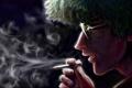 Картинка дым, арт, очки, сигарета, художник, личность
