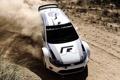 Картинка пыль, занос, Volkswagen, WRC, передок, Фольксваген, гоночный болид