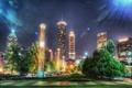 Картинка деревья, ночь, city, город, здания, небоскребы, США