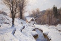 Картинка зима, лес, снег, деревья, пейзаж, дом, река