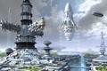 Картинка космопорт, город, корабли, деревья