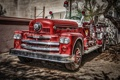 Картинка HDR, красная, хром, 1957, пожарная машина