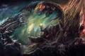 Картинка Маг, монстр, червь, черепа, схватка