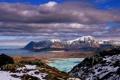 Картинка море, вода, облака, снег, горы, природа, скалы